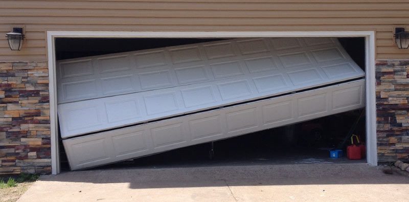 a broken garage door